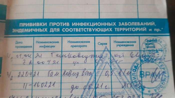 сертификат о получении профилактических прививках